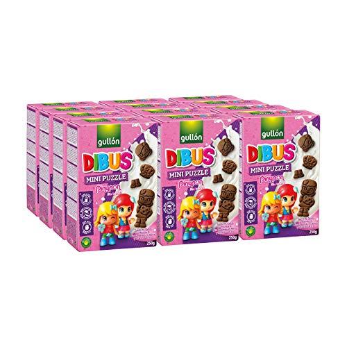 Gullón - Galletas cereales Dibus Mini Puzzle Pin y Pon, 3000 g, Pack de 12