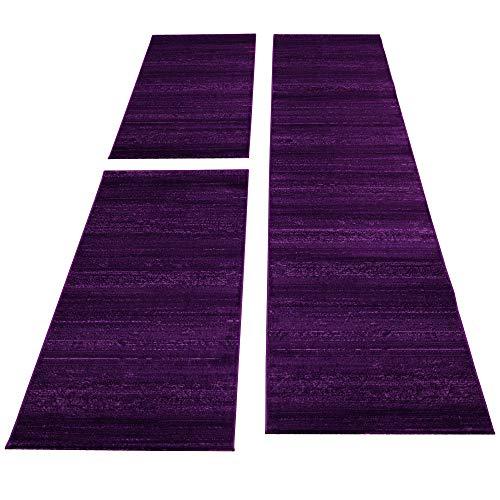 SIMPEX Bettumrandung Läufer Teppich Kurzflor Einfarbig Läuferset 3 teilig Schlafzimmer Flur Meliert Violet Lila, Bettset:2x80x150+1X80x300