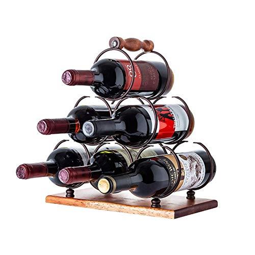 CAIJINJIN estante del vino Estante del vino del estante del soporte del vino tiene capacidad for 6 botellas de su vino favorito - elegante aspecto de vinos for complementar cualquier ambiente portátil