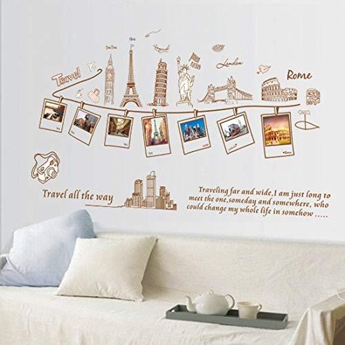 Etiqueta De La Pared,Travel All The Way Happy Memories Mural De PVC Autoadhesivo Adecuado para Dormitorio, Sala De Estar, Sala De Niños, Decoración para El Hogar De Bricolaje
