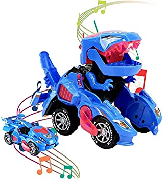 DAIREN Transforming Dinosaur LED Car with Light and Music (Blue)