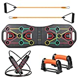 VOKUL Push Up Board System, 13 in 1 Fitness Equipment Foldable Muscle Board With Resistance Bands and Skipping Rope, Multifunctional Workout Strength Board, Home Gym Pushup Stands for Man and Women