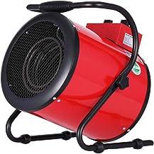 LJ Calefactor Industrial termoventilador de Exteriores portátil, con Dos ajustes de Calor más una Etapa separada de Aire frío para Garaje, Taller, apartamento (Negro/Rojo)