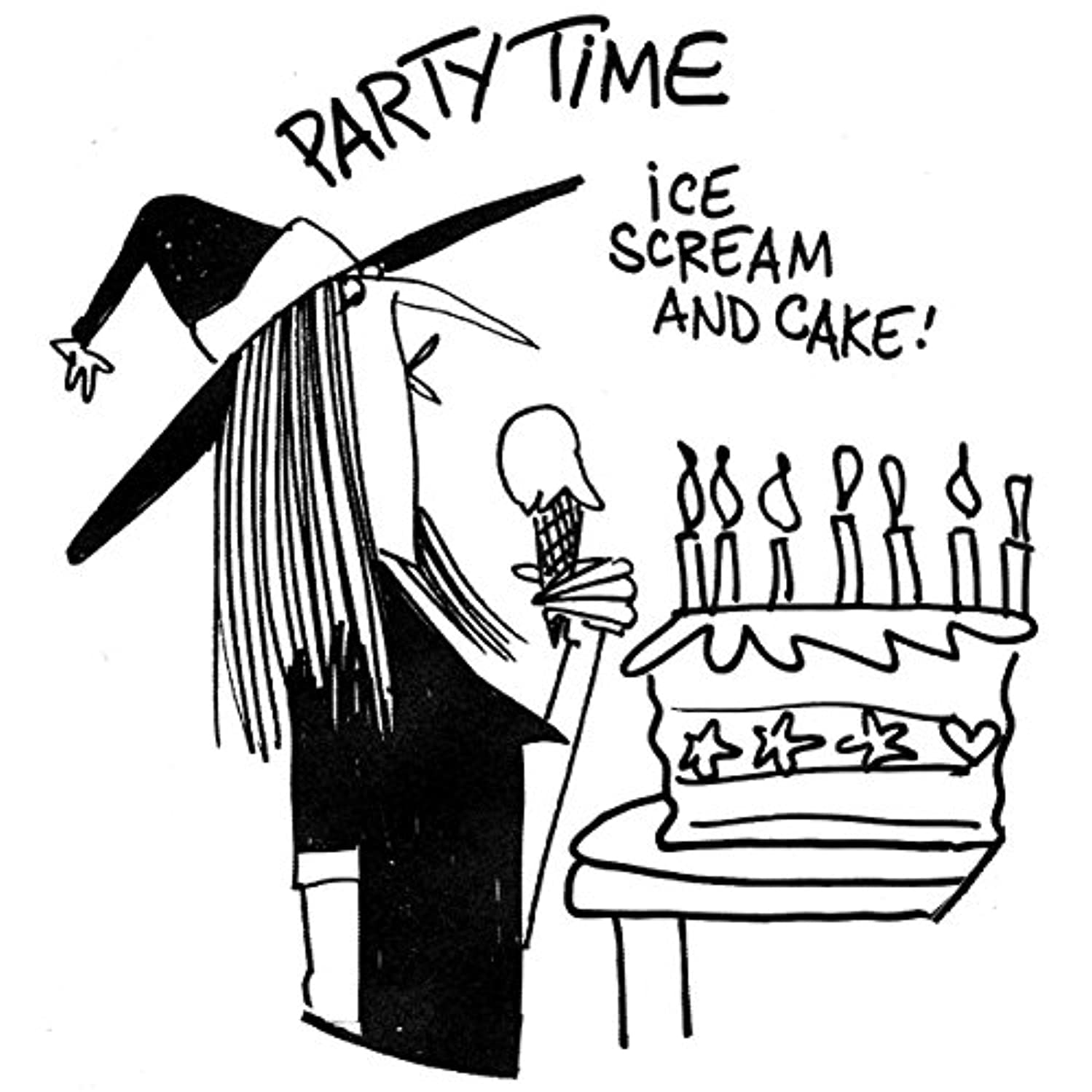 Gourmet Rubber Stamps EM7302 Cling Stamps 2.75 x 4.75 in. - Party Time, I Scream Cake