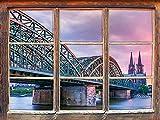 UYEDSR Pegatinas de Pared Muebles Magnífico Puente Hohenzollern en Colonia Ventana Pegatinas de Pared 3D Decoración de Pared Pegatinas de Pared 3D Calcomanías de Pared 92x62cm