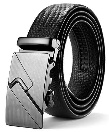 ITIEZY Herren Gürtel Ratsche Automatik Gürtel für Männer 35mm Breit Ledergürtel, Schwarz 130, Länge: Bis zu 49,21 Inches (125cm)
