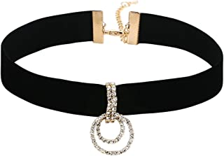 Women Choker Chain Adjutable, Velvet Collar Double O-Ring Shape Choker for Girls 33+7.5CM