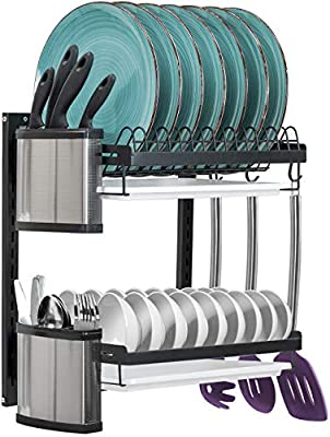 Sorbus Dish Drying Rack, Hanging Wall Mount Drying Plate Organizer Storage Shelf for Bowls, Utensils, Mugs, Includes Drain Trays and 3 Hooks for Kitchen Sink, Metal from
