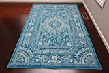 Feraghan/New City Transitional French Floral Wool Persian Area Rug, 2' x 3', Light Blue