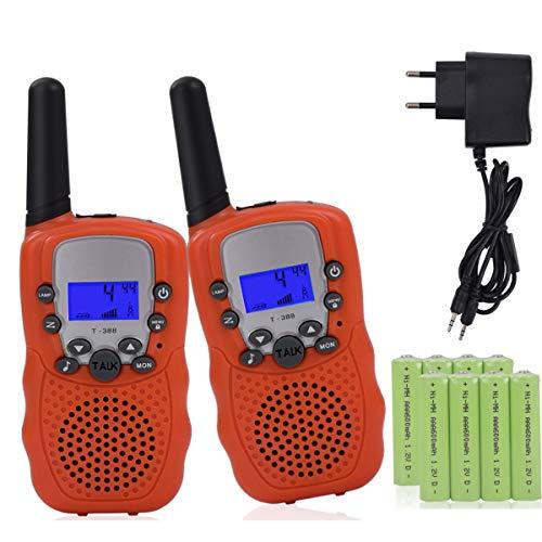 Miavogo 2 x Walkie Talkie Set für Kinder, Funkgerät mit Akkus PMR 3 km Reichweite Funkhandy, Orange