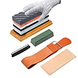 Complete Knife Sharpening Stone Kit–400/1000 and 3000/8000 Grit Whetstone set, Professional wet...