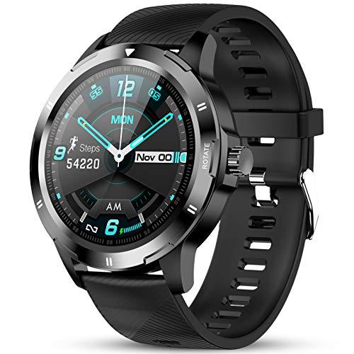 GOKOO Reloj Inteligente Hombres Smartwatch Reloj Deportivo Inteligente Información Notificación Pantalla Táctil Completa Smartwatch Impermeable IP68 Compatible con Android iOS (Nergo)