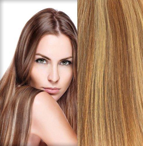 Clip en extensions de cheveux 100% humains Remy Hair 27/613 brun doré Couleur 50,8 cm Longueur 120 g Poids cheveux