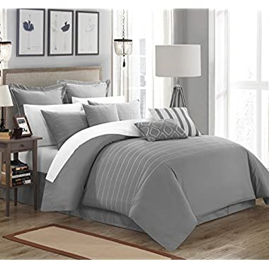 Chic Home 13 Piece Brenton Super Rich Microfiber Stitch Embroidered Comforter Set. Queen, Grey, with 4 White Sheet Set