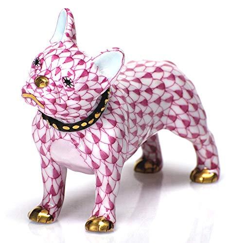 Herend Puppy Dog Frenchie Porcelain Figurine Raspberry Fishnet
