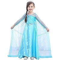 URAQT Disfraz de Princesa Frozen Elsa, Traje de Princesa de la Nieve Vestido Infantil Disfraz de Princesa de Niñas para Frozen Themed Fiesta Cumpleaños Navidad Todos los Halloween Traje Fiesta(110)