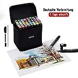 Gucheng 40 Farbige Stift Fettige Mark Farben Marker Set,Twin Tip Textmarker Graffiti Pens für Sketch Marker Stifte Set für Studenten Manga Kunstler Design Schule Drawing Sketch (40 Schwarz)