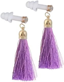 Lavender Rhinestone Tassel Earplugs