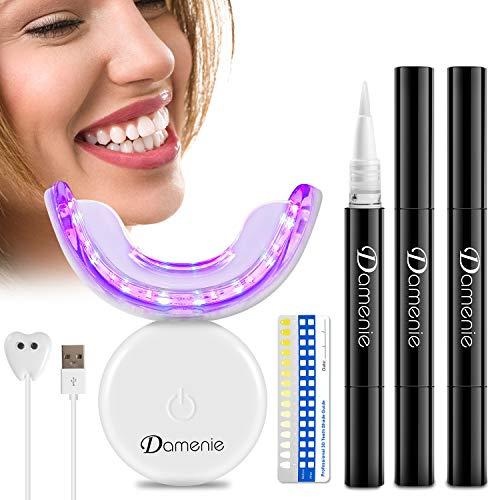 Teeth Whitening Kit, 32X LED Licht Hause Zahnaufhellung Set, Damenie Kabellos Intelligent Bleaching Zähne Set mit 3 Zahnaufhellung Gels für Weiße Zähne, Zahn Bleichen, Schmerzlos, Geruchlos