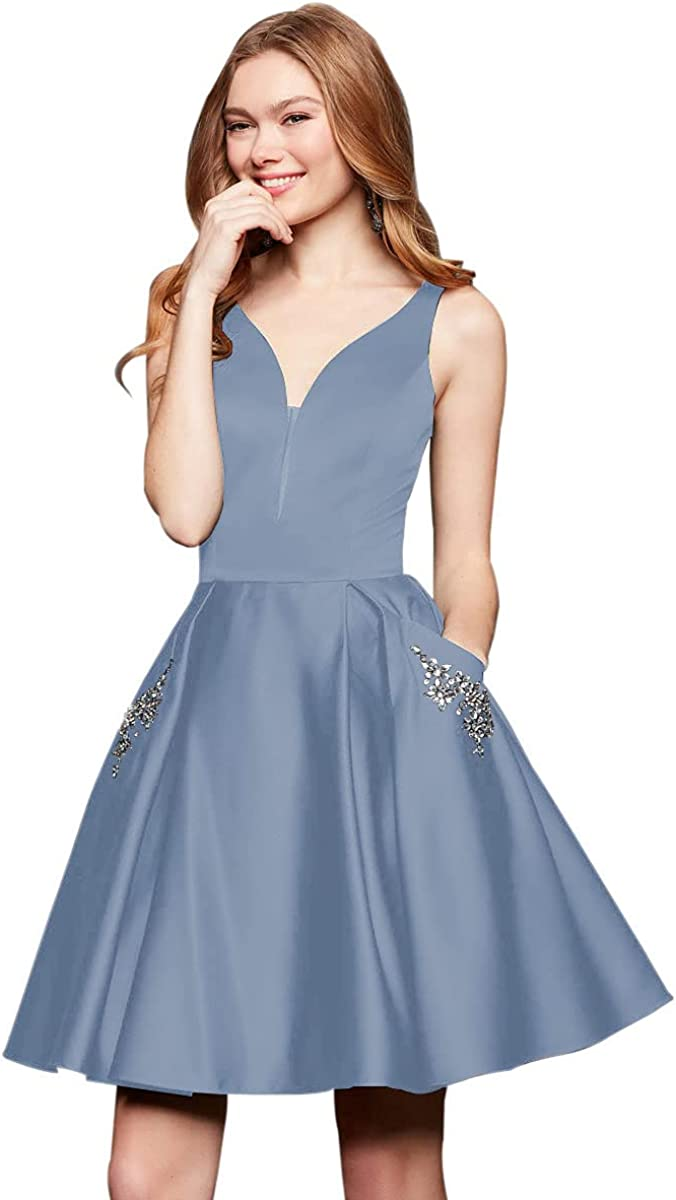 VCCICANY V Neck A-Line Satin Homecoming Dress Short for Women Crystal Formal Prom Gown with Pockets