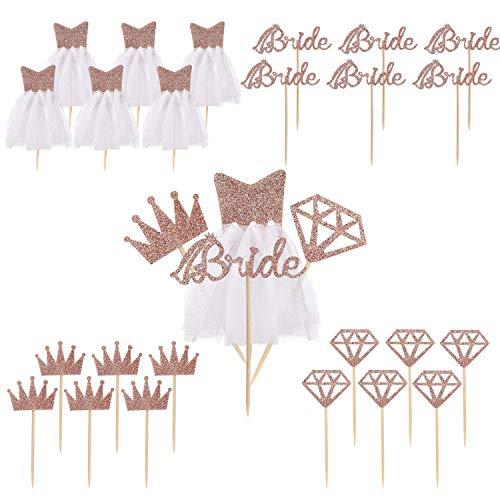Braut Kuchen Topper Roségold Pink Glitter Cupcake Toppers mit Diamant, Krone, Braut, 3D Brautkleid für Brautdusche, Hochzeit Verlobung, Dessert Dekor 28 Stück