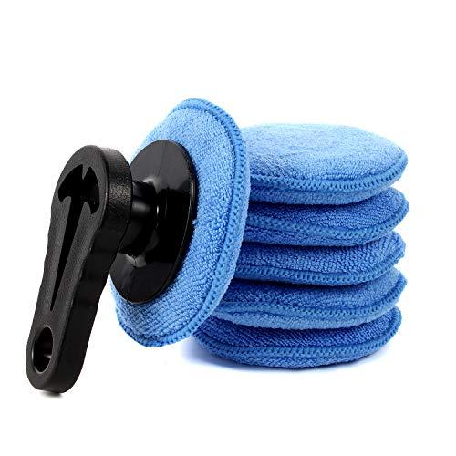 NLHXCMK 7 Pcs Car Wax Applicator Pads Kit 4.7 inch Microfiber Sponge Applicators Soft Foam Waxing Pad with Grip Handle (Large)