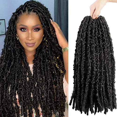 18 Inch Butterfly locs Crochet Hair Distressed Crochet Hair 6 Packs Supper Soft Butterfly Crochet Hair Pre Looped Natural Synthetic Crochet Hair Extension (18'',1B#)