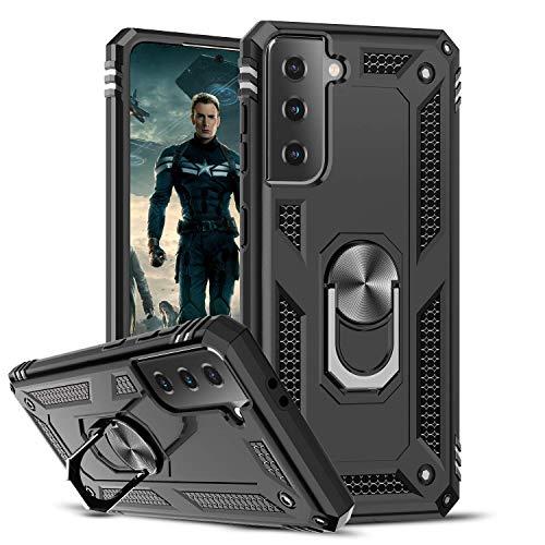 LeYi Funda Samsung Galaxy S21 5G,Armor Carcasa con 360 Grados Anillo iman Soporte Hard PC Silicona TPU Bumper Antigolpes Case para Movil Samsung Galaxy S21 5G,Negro