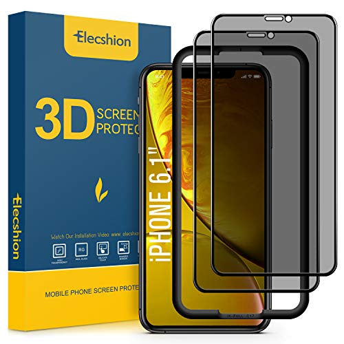 (2-Pack) Privacy Screen Protector for iPhone 11 and iPhone XR (Full-Coverage),Elecshion Anti-spy Tempered Glass Screen Protector for iPhone 11/XR(6.1