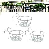 Hanging Railing Planter Baskets, Iron Art Hanging Baskets, Iron Potted Plants...