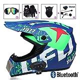 Tema UFO Casco da Motocross con Citofono Moto Bluetooth Auricolare, Off-road Casco da Moto Set con Occhiali/Maschera/Guanti, Caschi da Cross Enduro Casco Motocicletta Racing Downhill Casco Verde,XL