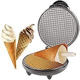 Piastra Croissant, Cono Croissant Cialda per Gelato Macchina per Croissant da 1200 Watt Macchina per Cialde con Rivestimento Antiaderente + Cono per Croissant Incluso