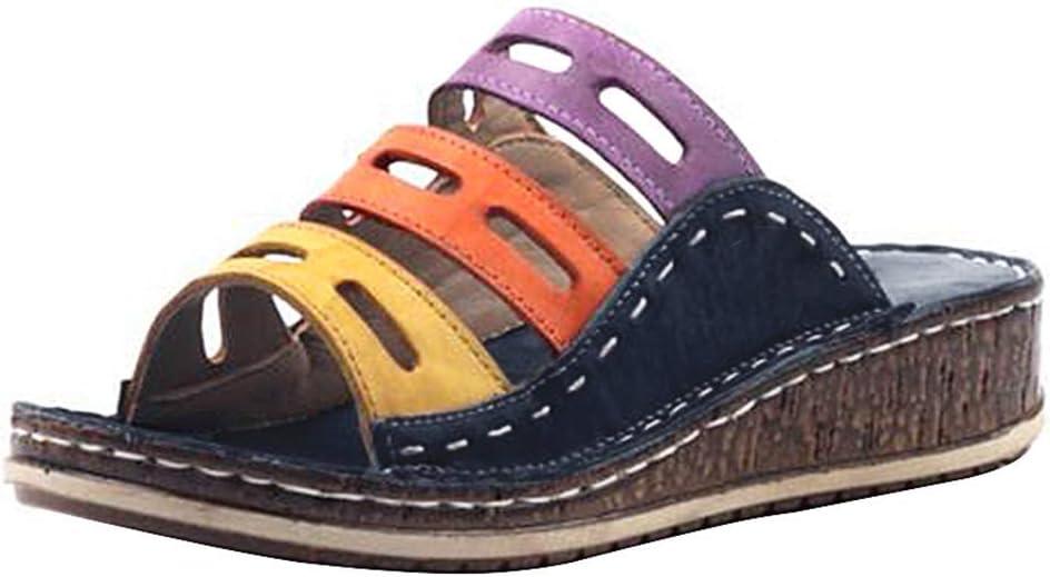 FMOGE Ladies Ranking TOP6 Faux Cheap mail order sales Leather Peep Toe Wedge Slip Heel Sandals Mid O