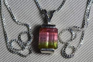 Watermelon Tourmaline Necklace, 3.02 Carat Bicolor Tourmaline Pendant, Sterling Silver Certified Natural Real Genuine October Birthstone BT3
