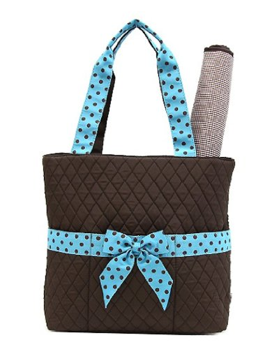 Belvah Quilted Solid 2pc Diaper Tote Bag with Polka Dot Front Ribbon (Brown/Turquoise)