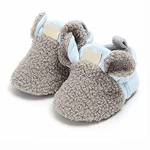 LHKJ Zapatos Primeros Pasos Bebé Bebé Fleece Botines cálido Invierno Suave Antideslizante Suela Peluche,10.5, 0-6 Meses