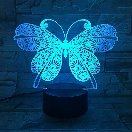 Illusion 3d Lampe Led Lampe De Nuit 7 Couleur Clignotant Interrupteur Tactile Usb Réglable Chambre Éclairage Décoratif Enfants Acrylique Der Schmetterling