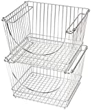 Smart Design Stacking Basket Bin Pantry Freezer Storage Organizer - Large (12.63 x 8.5 Inch) - Steel Metal Wire - Fruit, Vegetable, Onion, Potato, Cans - Kitchen [Chrome] - Set of 2