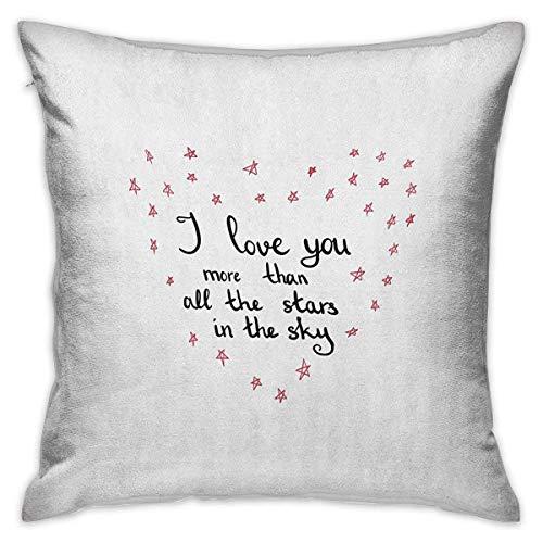 Ti amo di più Fodere per federe quadrate con cerniera Lettere scritte a mano di San Valentino con stelle a forma di cuore Federe per cuscini rossi grigi bianchi Federe per divano Camera da letto Auto