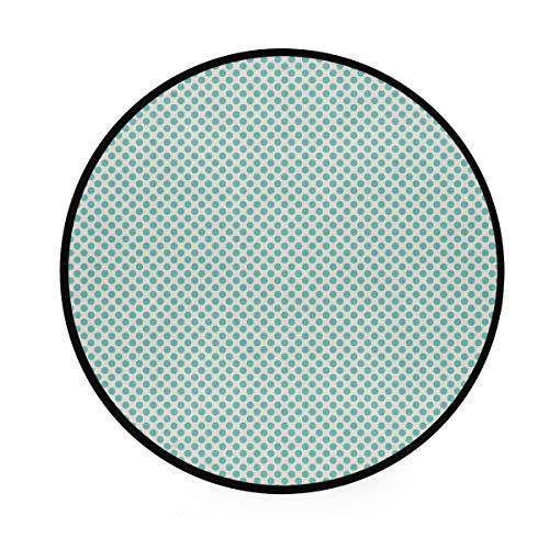 FANTAZIO - Alfombra redonda con puntos aguamarina antideslizante para patio o habitación familiar