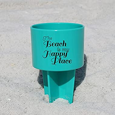 Pack of 4 - Spiker Beach Sand Coaster Cup Holder -  The Beach Is My Happy Place