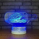 BFMBCHDJ Lámpara de mesa colorida 3D para sala de estar Dormitorio Mesita de noche Lámpara de mesa 3D Decoración navideña Luz de noche LED A1 Base negra