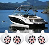 (4) KICKER 45KM84L 8' 1200w Marine Boat Wakeboard Tower Speakers w/LED's KM8