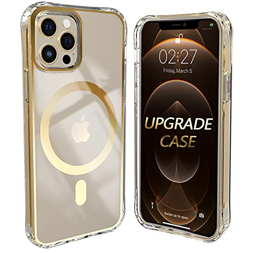 [Upgrade] iPhone 12 Pro Max 6.7 Inch Compatible with MagSafe Clear Case, Upgraded Built in Magnetic Loop Anti Lifting Highly Adhesive, Rainbow Holographic Film, TIRVKEN (Gold)
