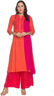 Haute Curry Womens Mandarin Collar Solid Embroidered Palazzo Suit