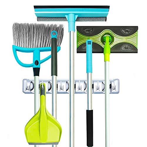 Guay Clean Broom and Mop Holder - Garden Tool Organizer - Home Storage Utility Rack- Strong Grip Hangers with Foldable Hooks - Heavy Duty Wall Mounted Shelf System - Fixed
