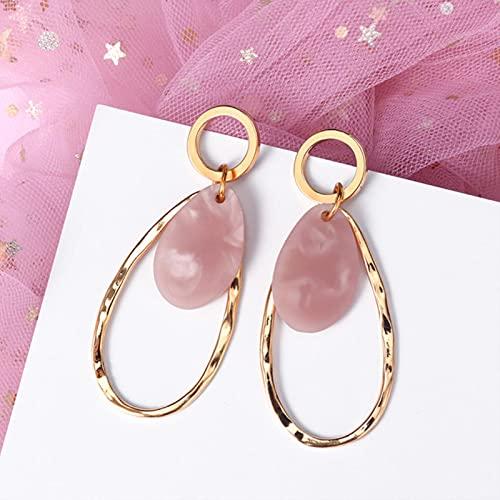 CXWK Pendientes llamativos Coreanos para Mujer, Color Rosa, Dulce, geométrico, Colgante, Pendientes de Oro, joyería de Moda