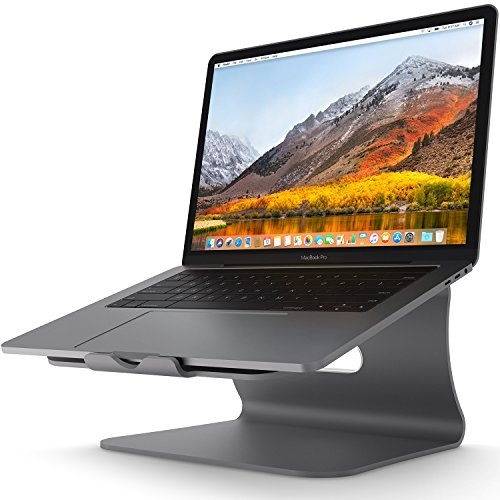 Laptop Stand - Bestand Aluminum Cooling Computer Stand: Update Version Stand, Holder for Apple MacBook Air, MacBook Pro, All Notebooks, Grey (Patented)
