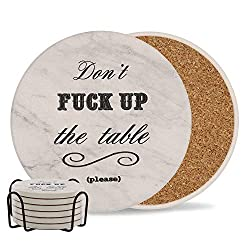 don't fuck up the table coaster gift for wine lovers