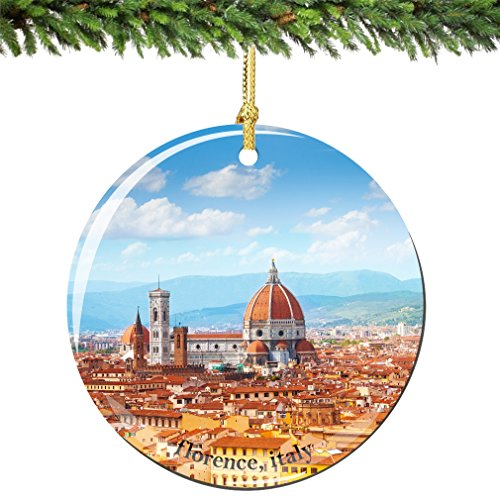 City-Souvenirs Florence Christmas Ornament, Italy Porcelain 2.75' Double Sided Florence Cathedral Italian Christmas Ornaments